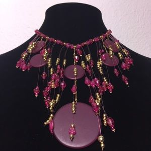 Bead Fringe Choker Necklace Pink And Gold Tone
